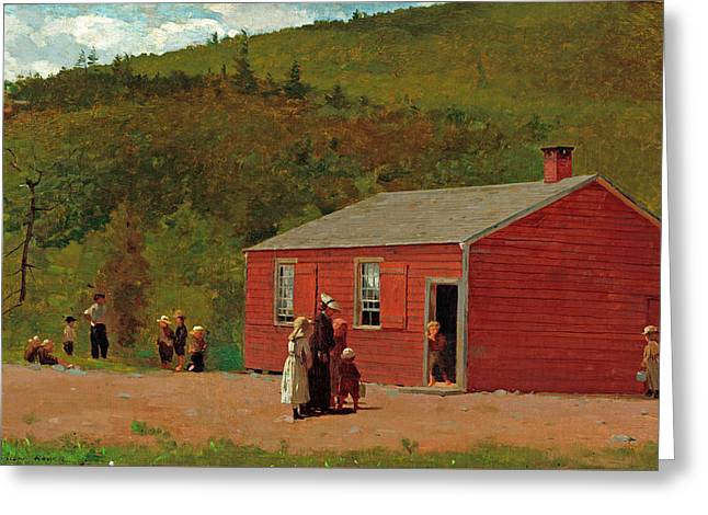 School Time Greeting Card by Winslow Homer