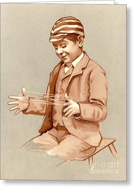 Schoolboy Playing Cats Cradle, 1905 Greeting Card by Mary Evans