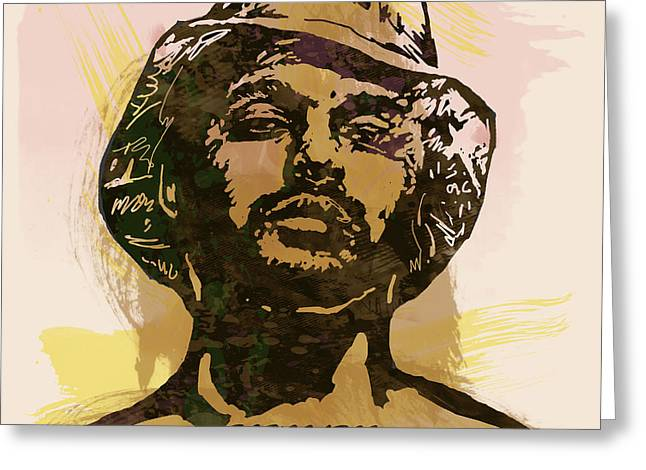 Labelled Mixed Media Greeting Cards - Schoolboy Q Pop Stylised Art Sketch Poster Greeting Card by Kim Wang