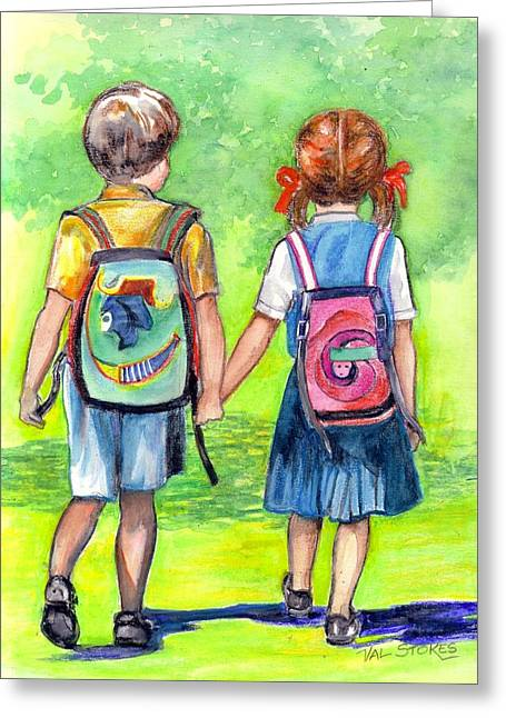 Schooldays Greeting Card by Val Stokes