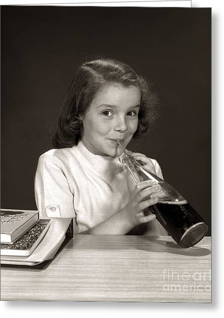 Schoolgirl Drinking Soda, C.1950-60s Greeting Card by H. Armstrong Roberts/ClassicStock