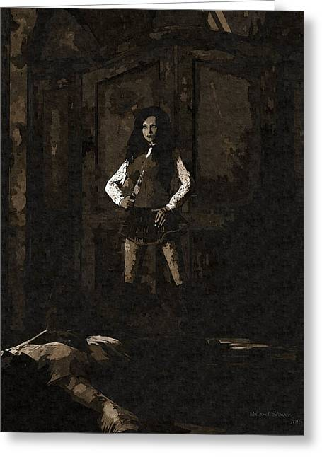 Schoolgirl Revenge Greeting Card by Michael Stowers