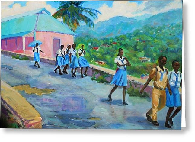 School's Out In Jamaica Greeting Card by Margaret  Plumb