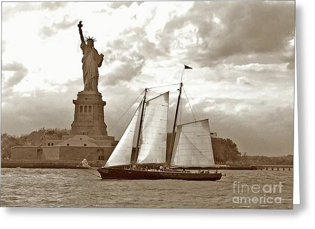 Schooner At Statue Of Liberty Twurl Greeting Card by Tom Wurl