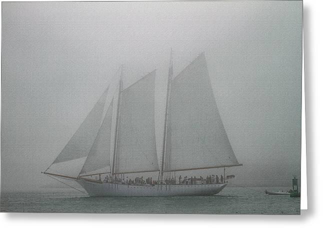 Schooner In Fog Greeting Card
