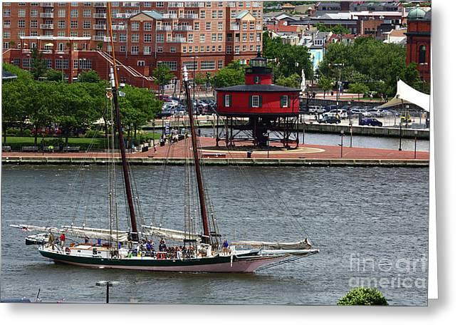 Schooner Lady Maryland Leaving Inner Harbor Baltimore Greeting Card