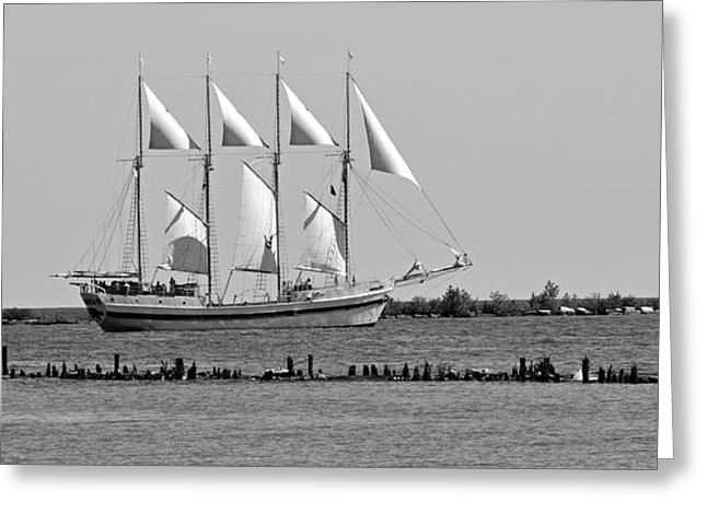Schooner On Lake Michigan No. 1-1 Greeting Card by Sandy Taylor