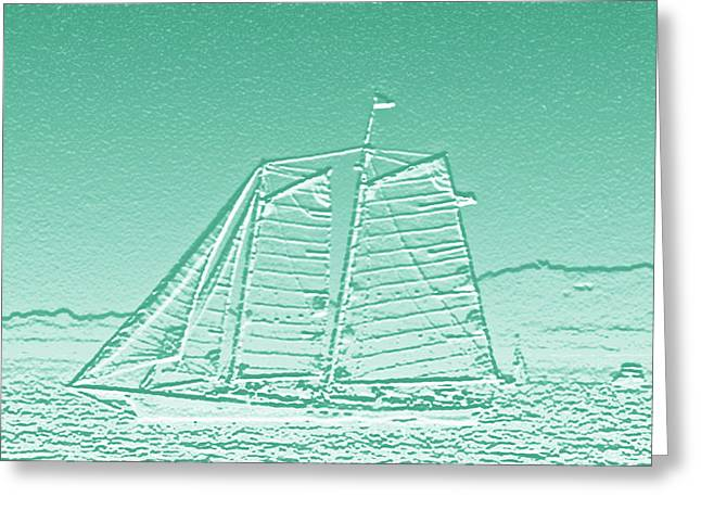 Schooner On New York Harbor No. 3-3 Greeting Card by Sandy Taylor