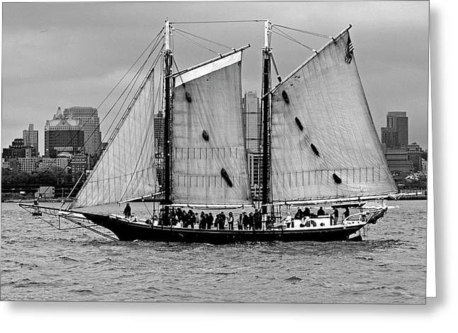 Schooner On New York Harbor No. 1-1 Greeting Card by Sandy Taylor