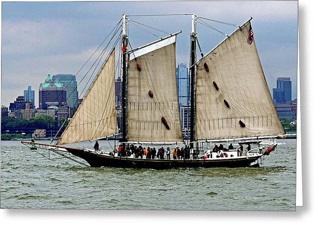 Schooner On New York Harbor No. 1 Greeting Card by Sandy Taylor