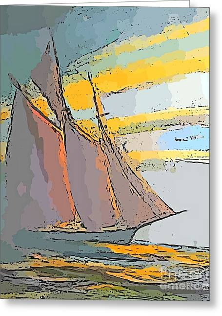 Schooner On The Horizon Greeting Card by John Malone
