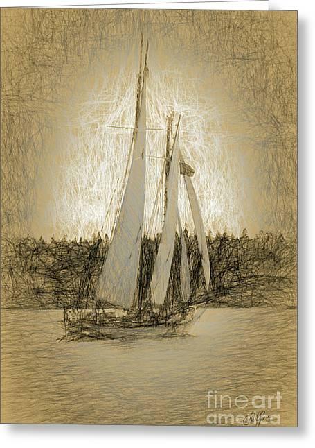 Schooner Sailing Greeting Card by Cheryl Rose