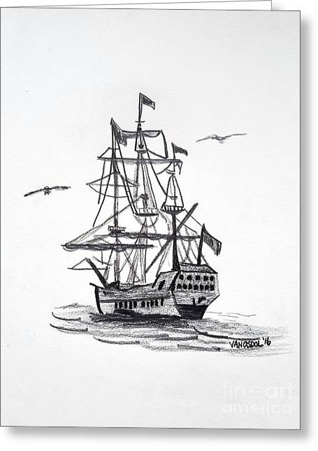 Schooner Sailing Ship Sketched Art Greeting Card
