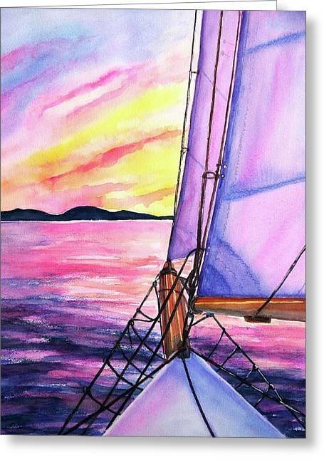Greeting Card featuring the painting Sailboat Sunset Cruise On Schooner Surprise  by Carlin Blahnik CarlinArtWatercolor