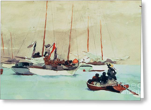 Boats. Water Greeting Cards - Schooners at Anchor in Key West Greeting Card by Winslow Homer