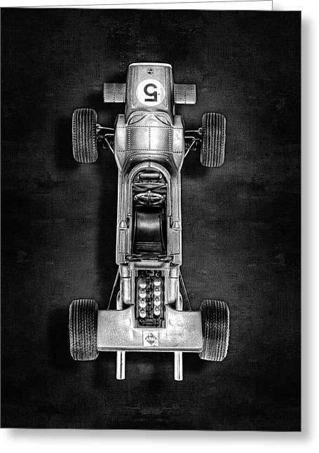 Greeting Card featuring the photograph Schuco Matra Ford Top Bw by YoPedro