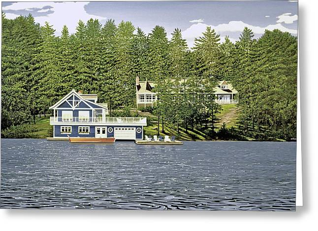 Greeting Card featuring the painting Schultz Summer Home Muskoka by Kenneth M Kirsch