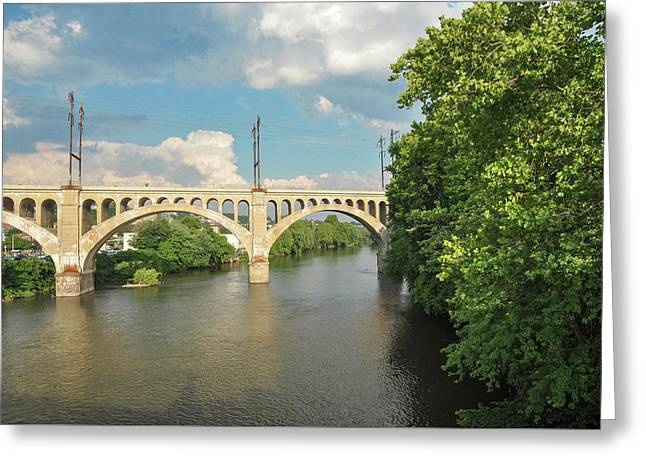Schuylkill River At The Manayunk Bridge - Philadelphia Greeting Card by Bill Cannon