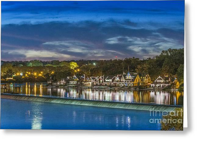 Schuylkill River Boathouse Reflections Greeting Card