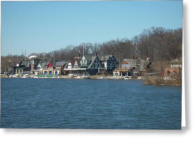 Schuylkill River - Boathouse Row In Philadelphia Greeting Card by Bill Cannon