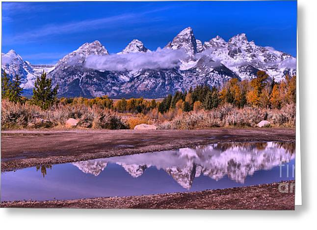 Schwabacher Fall Puddle Reflections Greeting Card