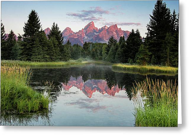 Greeting Card featuring the photograph Schwabacher Landing Sunrise by Ronnie and Frances Howard