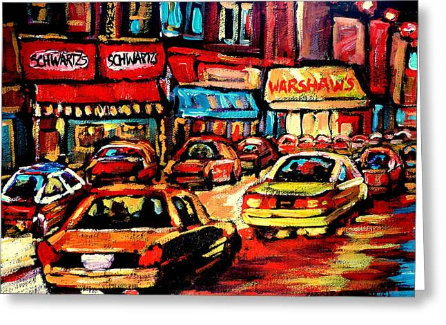 Schwartz's Deli At Night Greeting Card by Carole Spandau