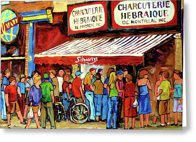 Montreal Restaurants Greeting Cards - Schwartzs Deli Lineup Greeting Card by Carole Spandau