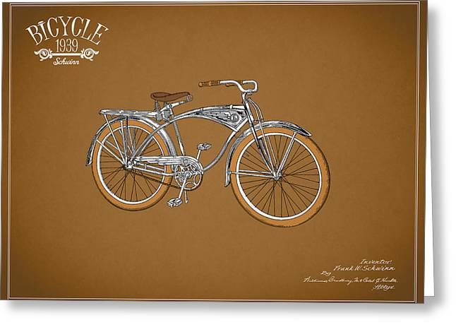 Schwinn Bicycle 1939 Greeting Card by Mark Rogan