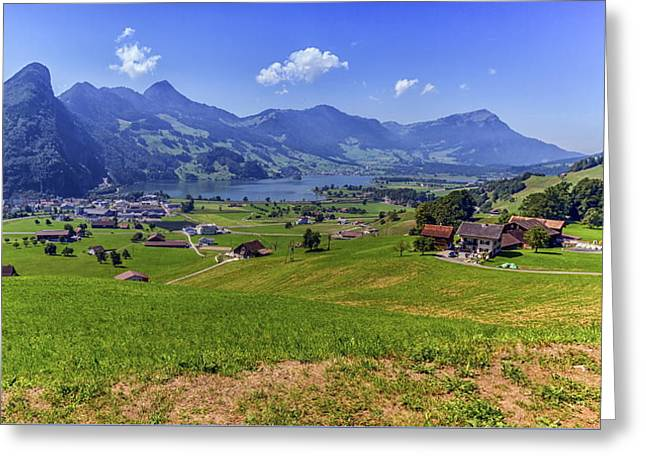 Schwyz And Zurich Canton View, Switzerland Greeting Card