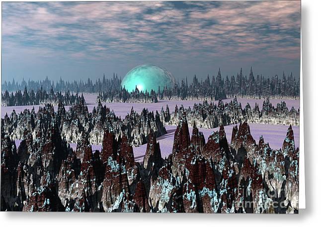 Sci Fi Landscape Greeting Card