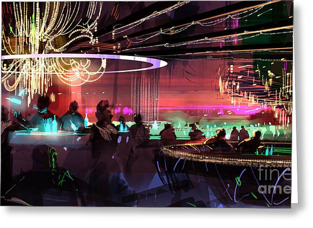 Greeting Card featuring the painting Sci-fi Lounge by Tithi Luadthong
