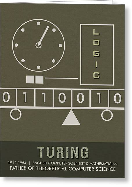 Science Posters - Alan Turing - Mathematician, Computer Scientist Greeting Card