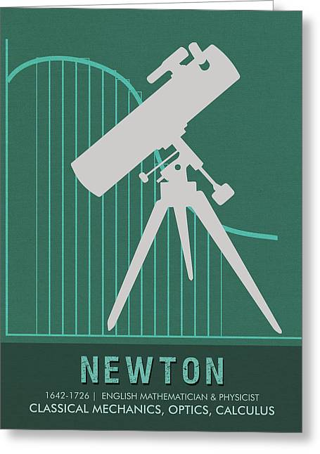 Science Posters - Sir Isaac Newton - Physicist, Mathematician, Astronomer Greeting Card