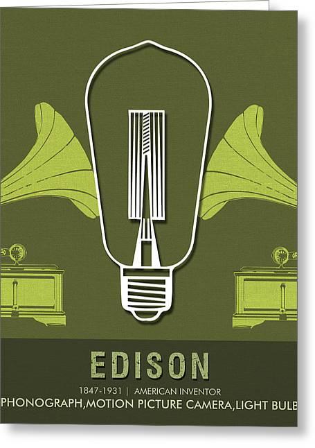 Science Posters - Thomas Alva Edison - Inventor Greeting Card