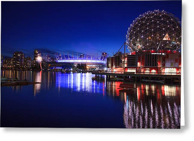 Science World And Fireworks Greeting Card by Alan W