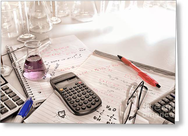 Scientific Calculator And Chemistry Formulas Notes Greeting Card