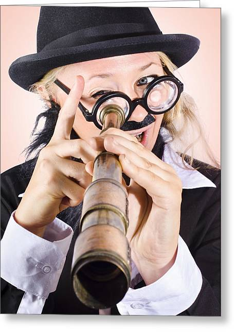 Scientist Searching For A Cure With Telecope Greeting Card by Jorgo Photography - Wall Art Gallery