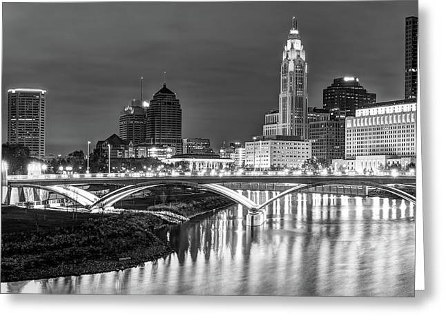 Scioto River Reflections Of Columbus Skyline  Black And White Greeting Card