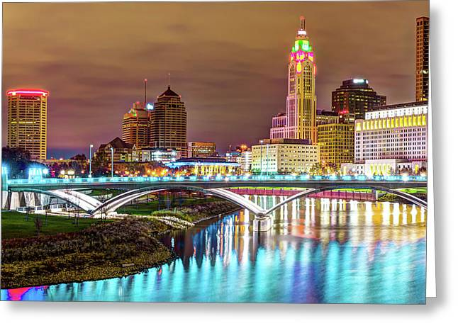 Scioto River Reflections Of Columbus Skyline Greeting Card