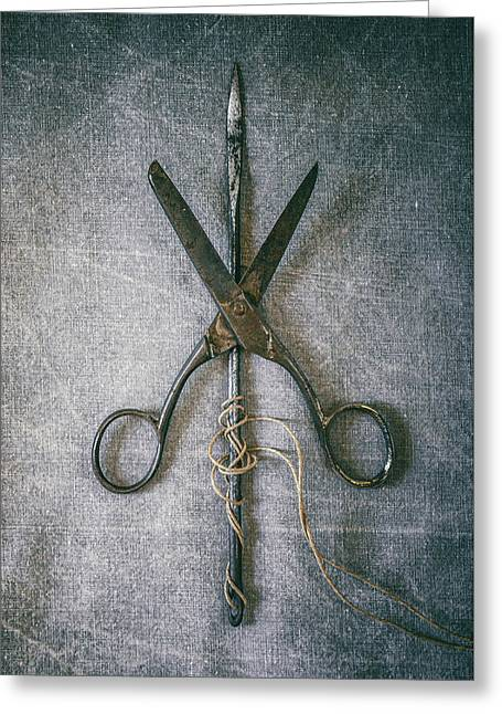 Scissors And Needle Greeting Card by Carlos Caetano