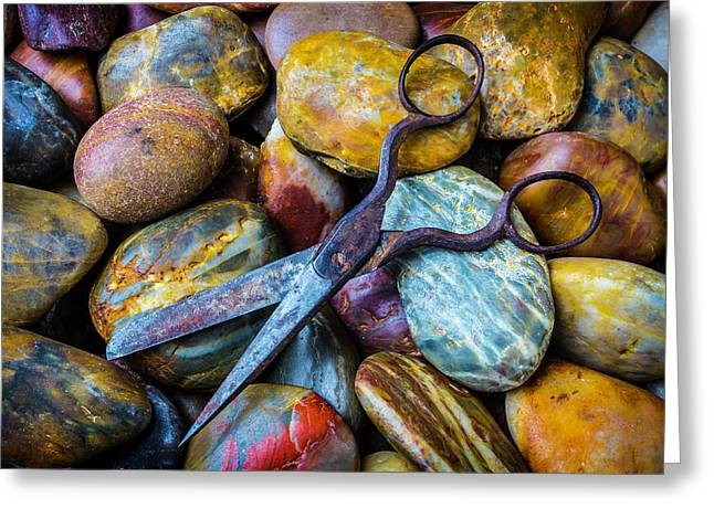 Scissors And Rocks Greeting Card by Garry Gay