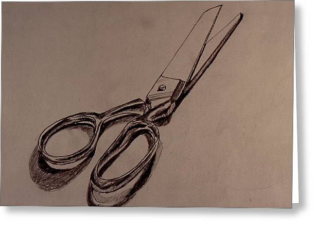 Scissors Greeting Card by Chris  Riley