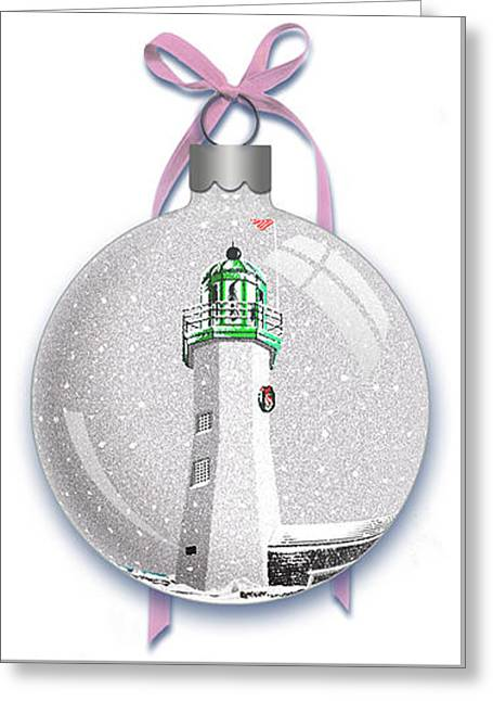 Scituate Light Ornament-a Greeting Card by Donna Basile
