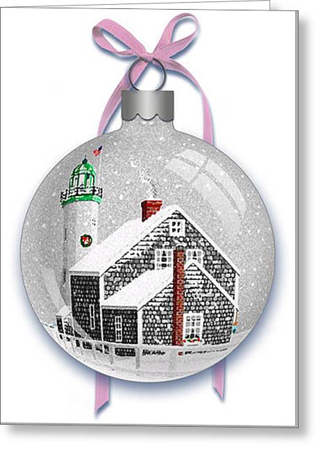 Scituate Light Ornament-b Greeting Card by Donna Basile