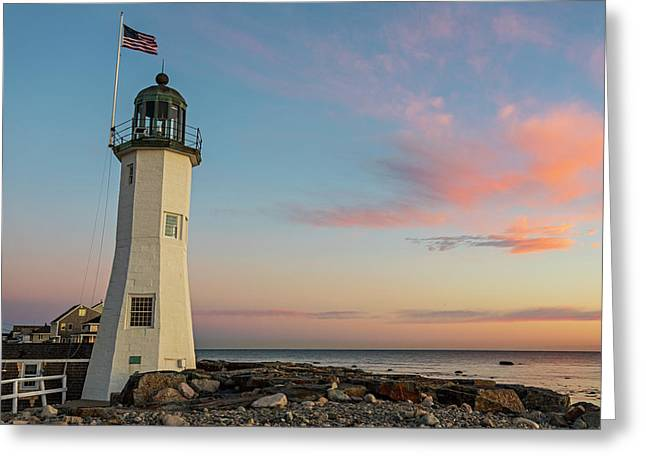 Scituate Lighthouse Scituate Massachusetts South Shore At Sunrise Greeting Card