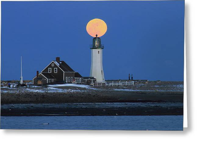 Scituate Lighthouse Snow Moon Greeting Card by John Burk