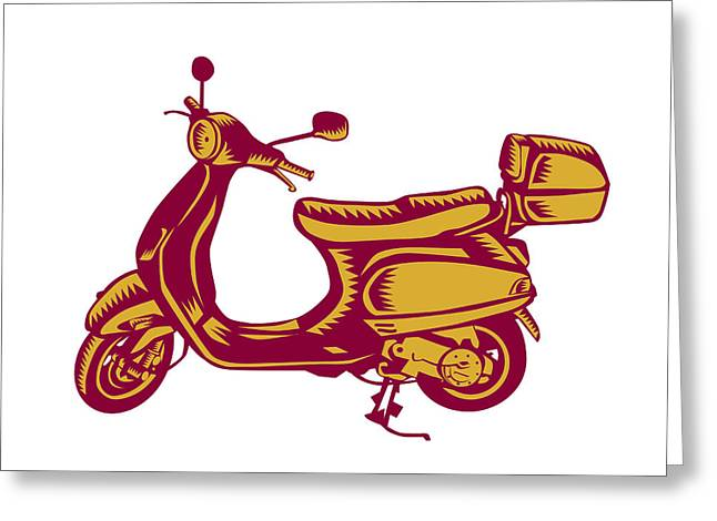 Scooter Bike Side Vintage Woodcut Greeting Card by Aloysius Patrimonio