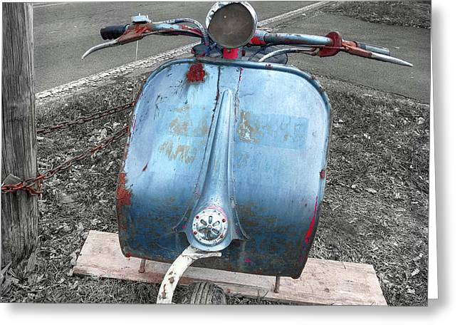 Scooter In Elderly Blue  Greeting Card by Steven Digman