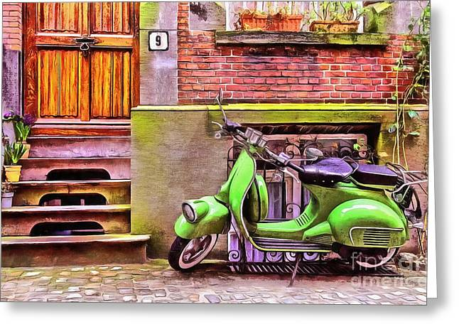 Scooter Parking Only Greeting Card by Edward Fielding